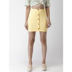 2 for $15 - Yellow Buttoned and Striped Skirt